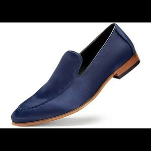 New Navy Satin Mens Loafers Dress shoes size 9